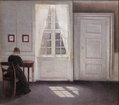 Une chambre dans la maison de l'artiste à Strandgade, Copenhague, avec l'épouse de l'artiste, Vilhelm Hammershøi