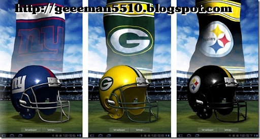 New for the 2011/2012 season official NFL 3D Helmet live wallpaper series for your Android device from Cellfish's Airborne Studios!