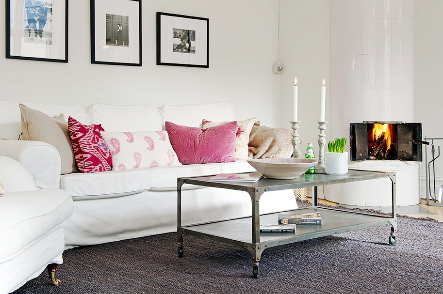 In your back pocket a dash of hot pink goes a long way Red and grey sofa