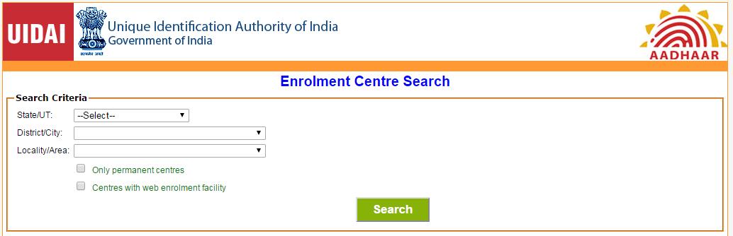 step1: Find Aadhaar card Enrollment Center image1