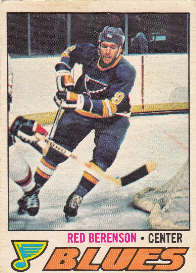 red berenson st. louis blues 1977-78 o-pee-chee hockey card