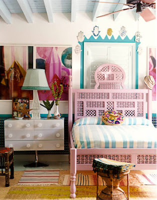 dreamy girly bedroom, vintage wooden bed, painted pink