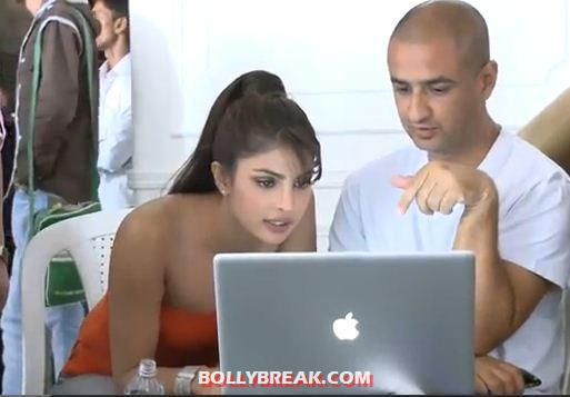 Prianka chopra in an orange strapless top -  Priyanka Chopra  Dabur commercial behind the scenes