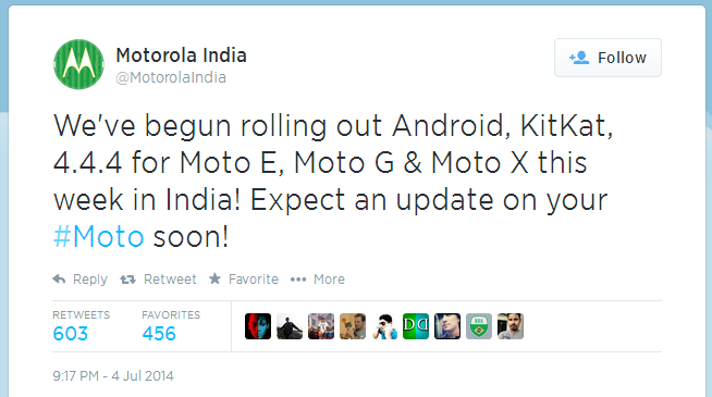 moto g,e,x , android kitkat 4.4.4 update in India