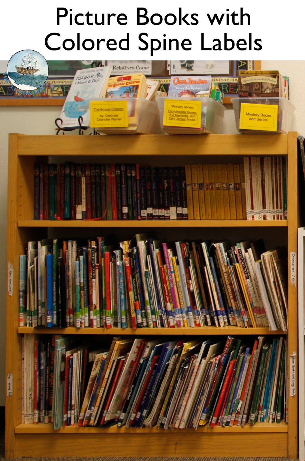 Picture Books with Colored Spine Labels - Organizing the Classroom Library | The Logonauts