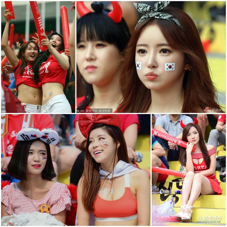 Foto Suporter Cantik & Seksi Korea Selatan Di Piala Dunia 2014