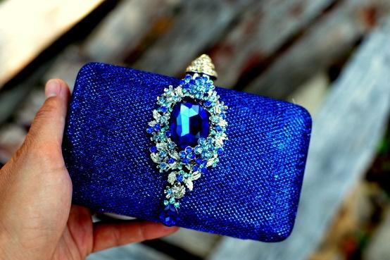 Something Blue Wedding Ideas - navy blue bridal clutch