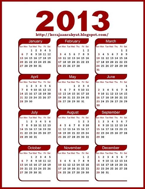 KALENDAR 2013 # 2013 Calendar