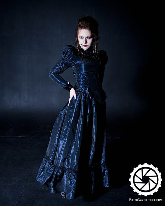 steampunk gothic victorian dark blue wedding dress