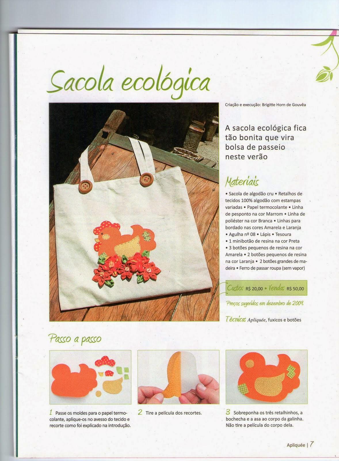 Sacola ecológica com patchwork