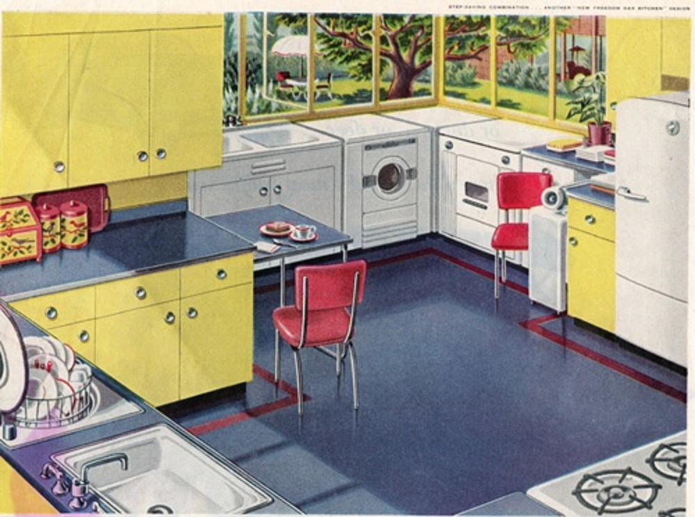 yellow retro kitchens - photo #18