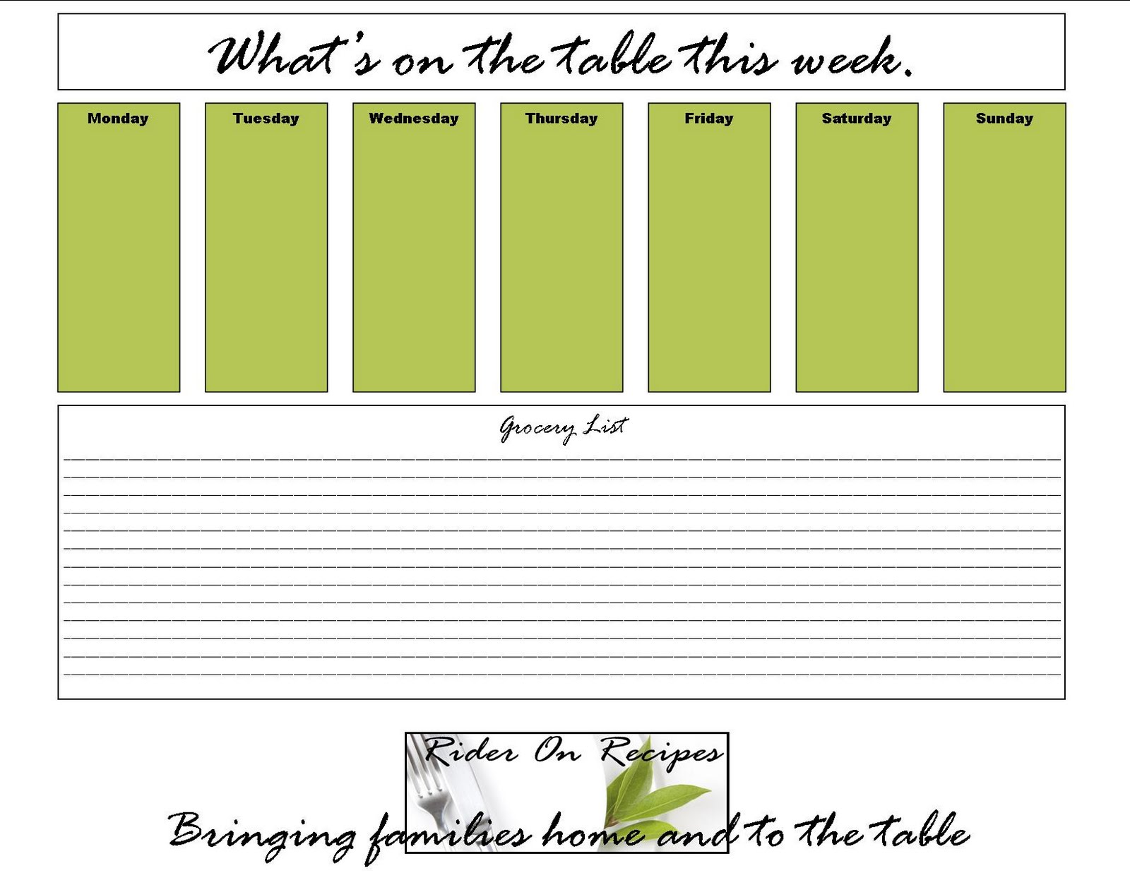 grocery list template for mac - weekly menu templates for mac