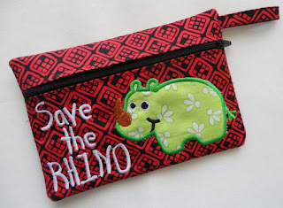 Save The Rhino purse made in the hoop