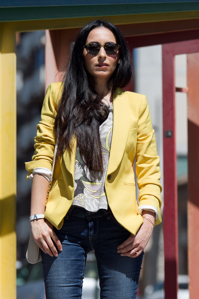 Yellow Blazer Cropped Top and New Meltin' Pot Jeans