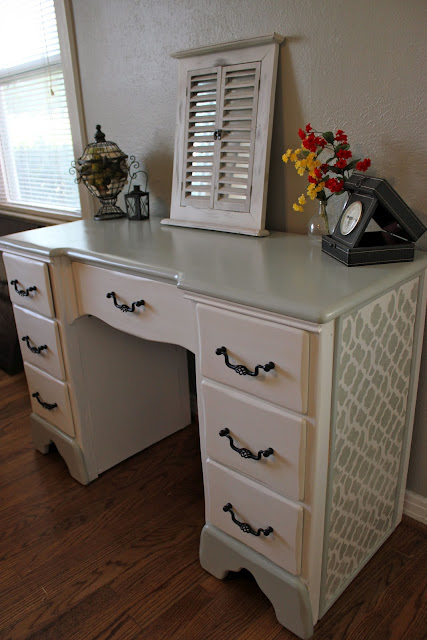 stenciled desk