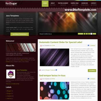 Red Sugar blog template. magazine blogger template style. featured content blog template
