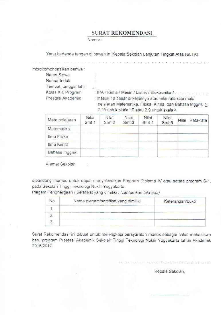 surat rekomendasi STTN
