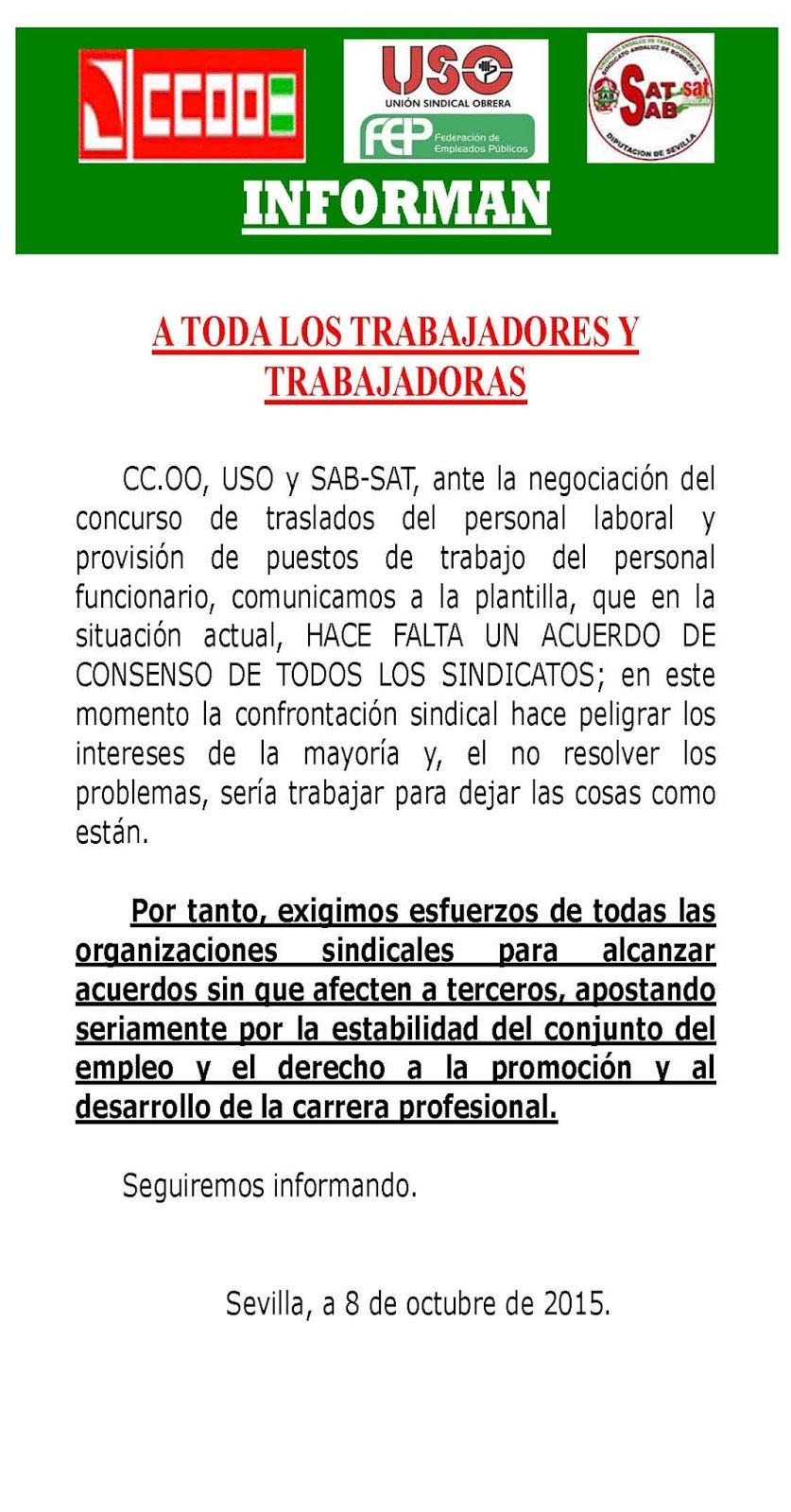 Uni n sindical obrera diputaci n de sevilla comunicado for Ccoo concurso de traslados
