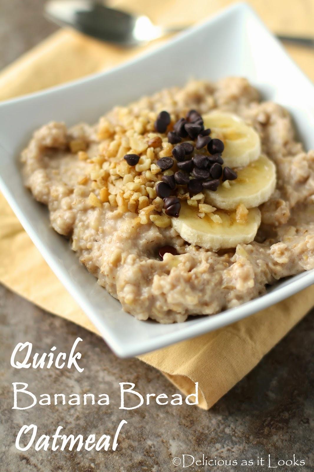 Quick Banana Bread Oatmeal {Low-FODMAP, Gluten-Free, Dairy-Free, Vegan}  /  Delicious as it Looks