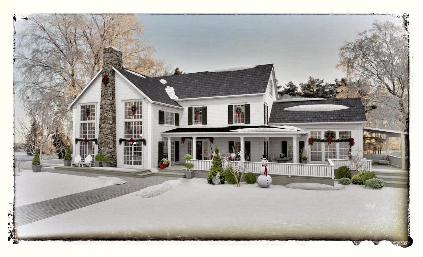 Den vita drömgården: bygglovshandlingar klara   new england hus
