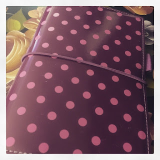 Filofax ring planner purple with hot pink polka dots.
