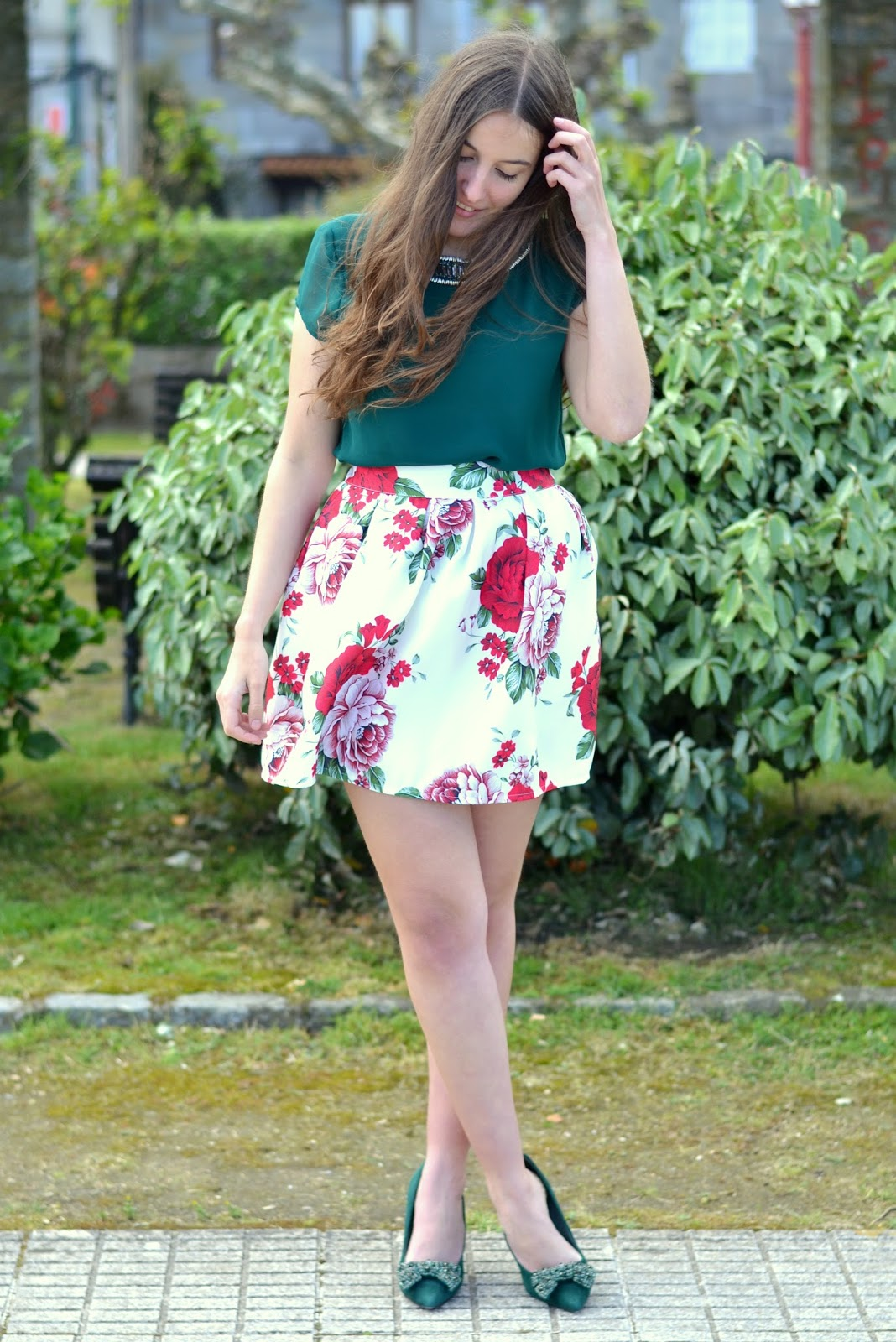 outfits sheinside floral print skirt