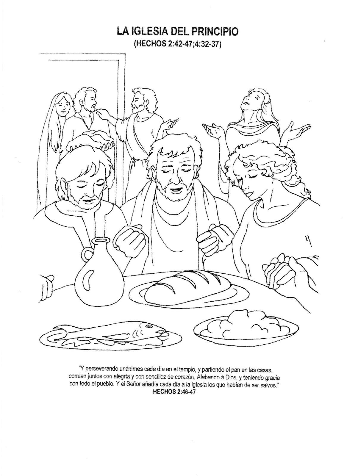 Dibujo de La Iglesia Primitiva para colorear - Hechos 2:42-47 ...