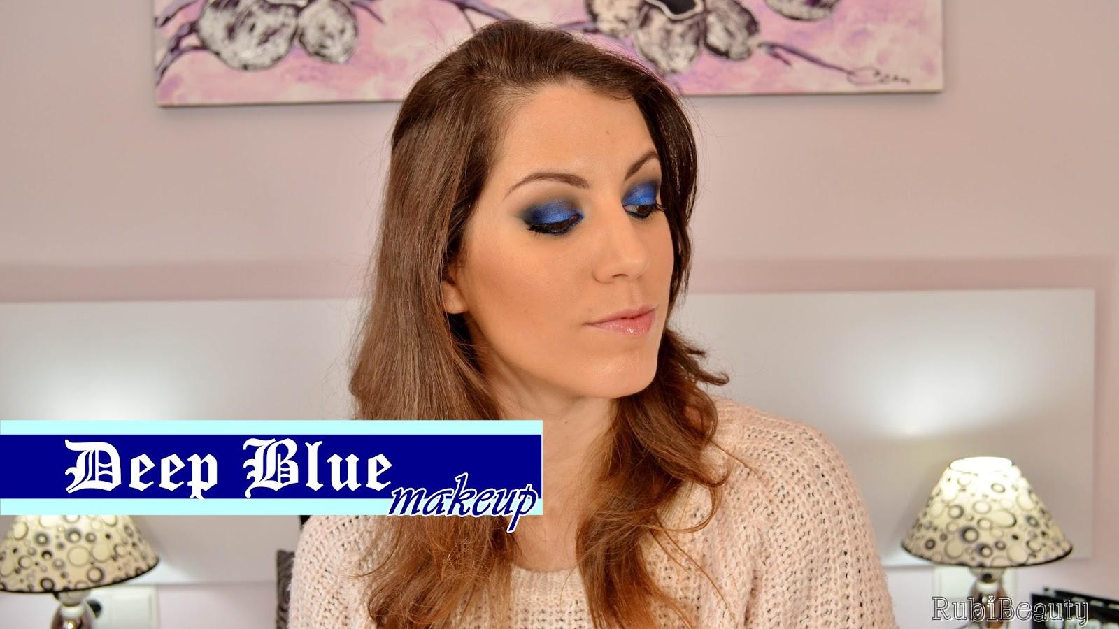 rrubibeauty maquillaje fiesta navidad christmas makeup xmas 2014 azul blue pigmentos