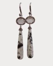 Andi Alyse Moonstone and Grey Chalcedony Diamond Drop Earrings