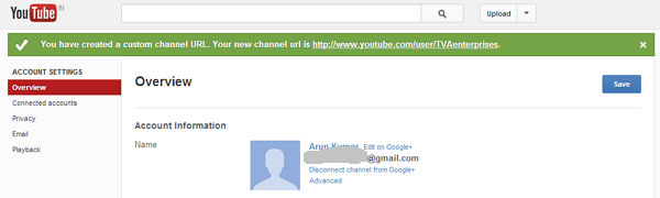 how to get youtube channel url