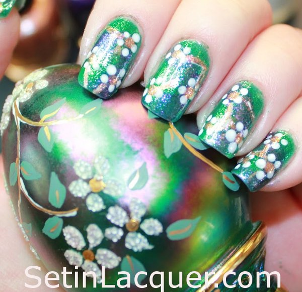Fenton egg inspired nail art