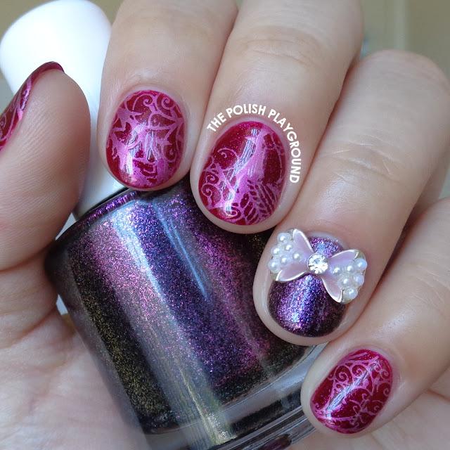 Pink Peacock Stamping Nail Art
