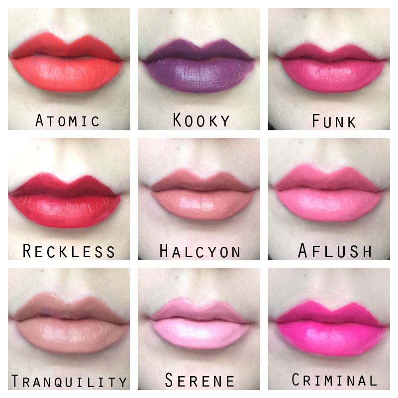 MUA Make Up Academy Luxe Velvet Matte Lip Lacquers Reckless Kooky Funk Atomic Serene Tranquility Aflush Criminal Halcyon