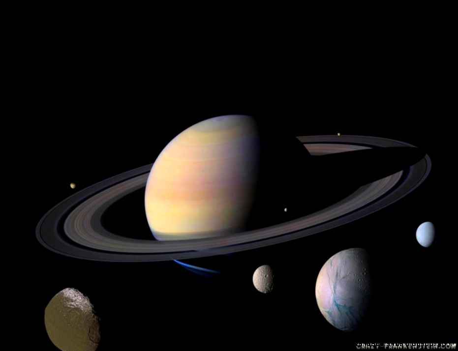 Planet Saturn Moons