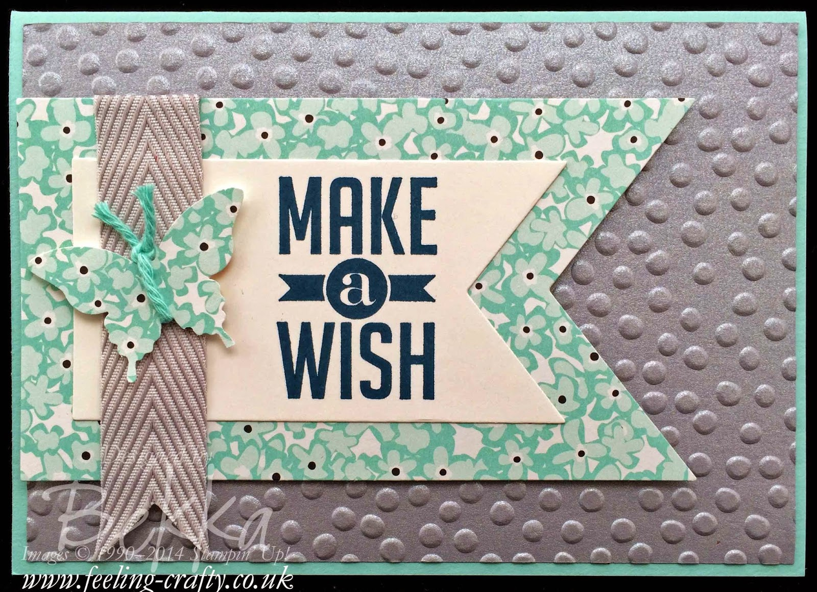 Perfect Pennants Sale-a-Bration Card by UK Stampin' Up Demo Bekka Prideaux - check out the details here