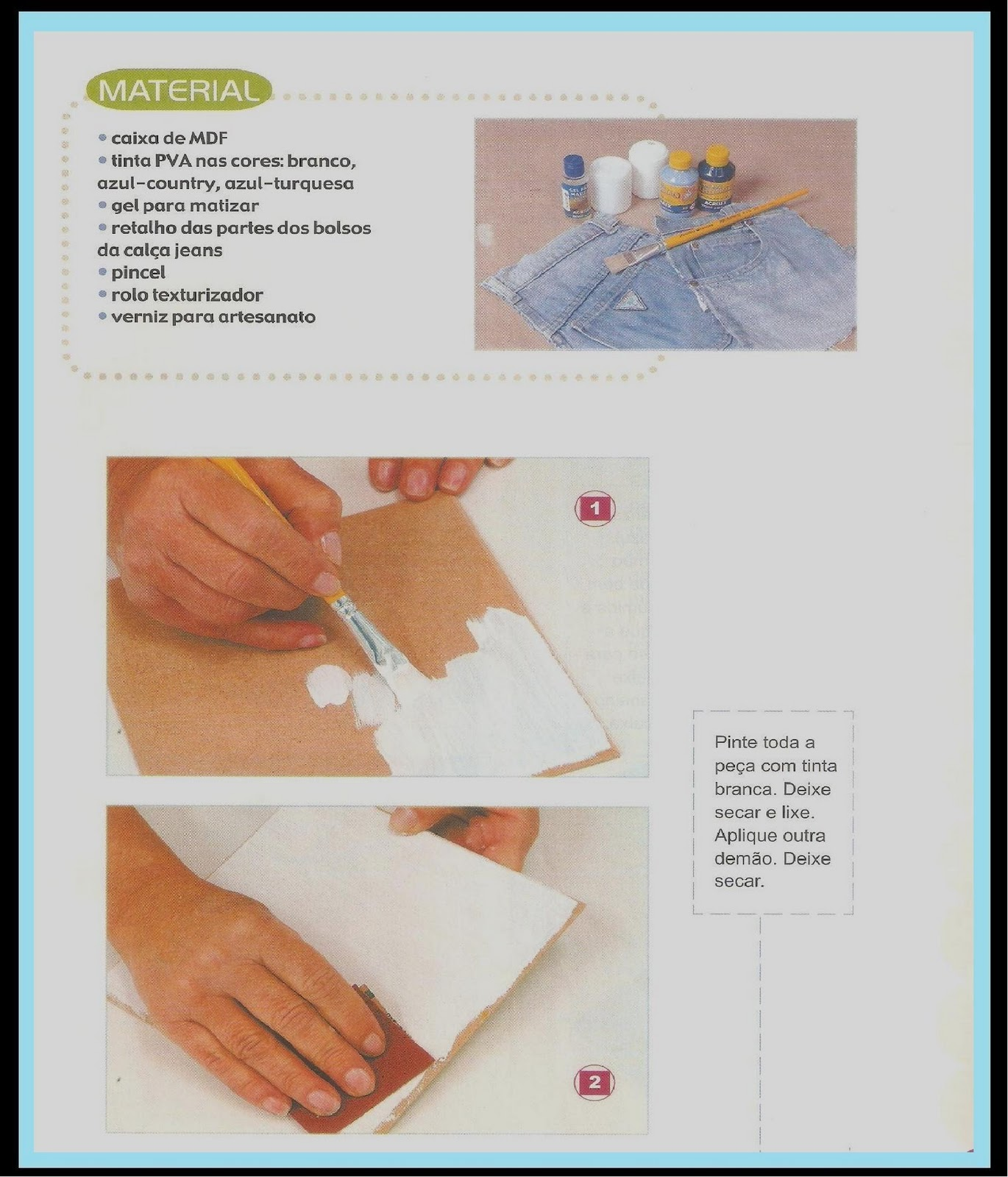 passo a passo desta caixa que utiliza pedaços de calça jeans #248CA7 1370x1600