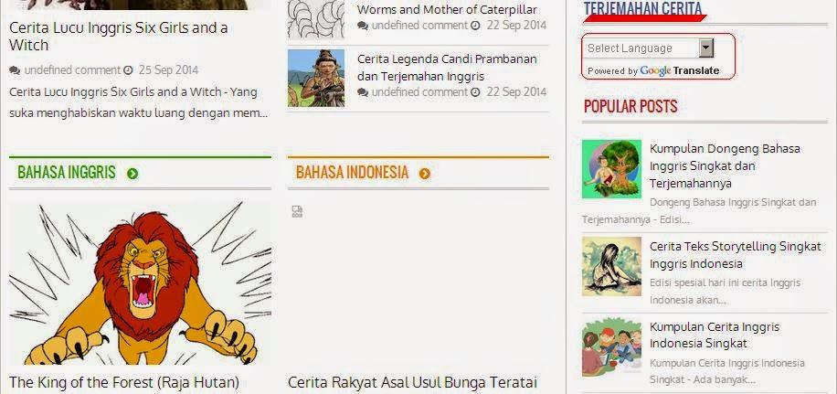 Cerita Inggris Indonesia Laba-laba, Kelinci dan Sang Bulan