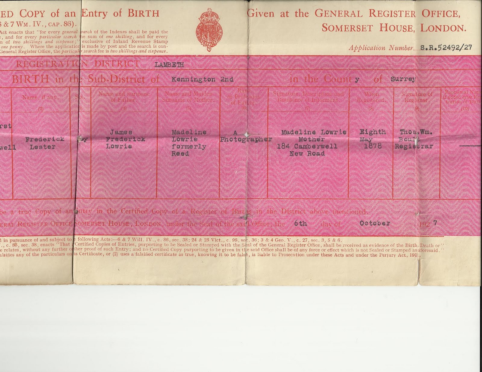 Remember a family history blog the value of sharing birth certificate of frederick lester lowrie husband of olga whoever you are lowrie aiddatafo Choice Image