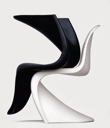 Silla Panton en negro y blanco.