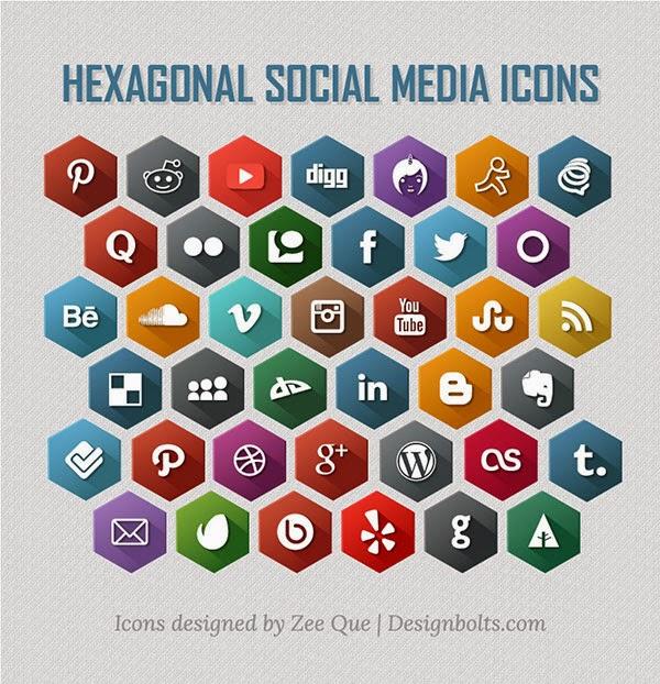 40 Hexagonal Social Media Icons
