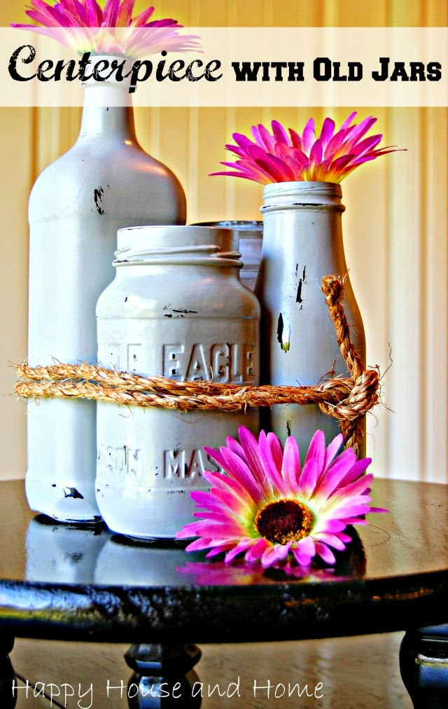 painting old jars, painting glass, mason jars