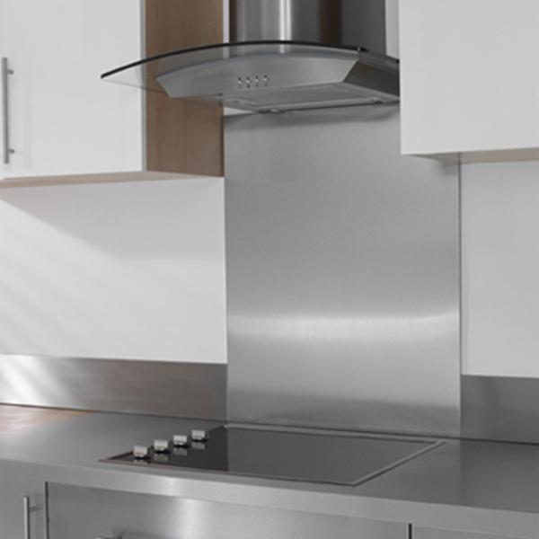 Stainless steel kitchen splashback the kitchen design - Plaque aluminium cuisine ikea ...