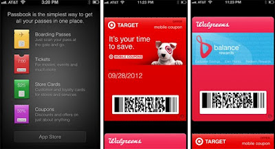 Passbook app displays showing Target and Walgreens
