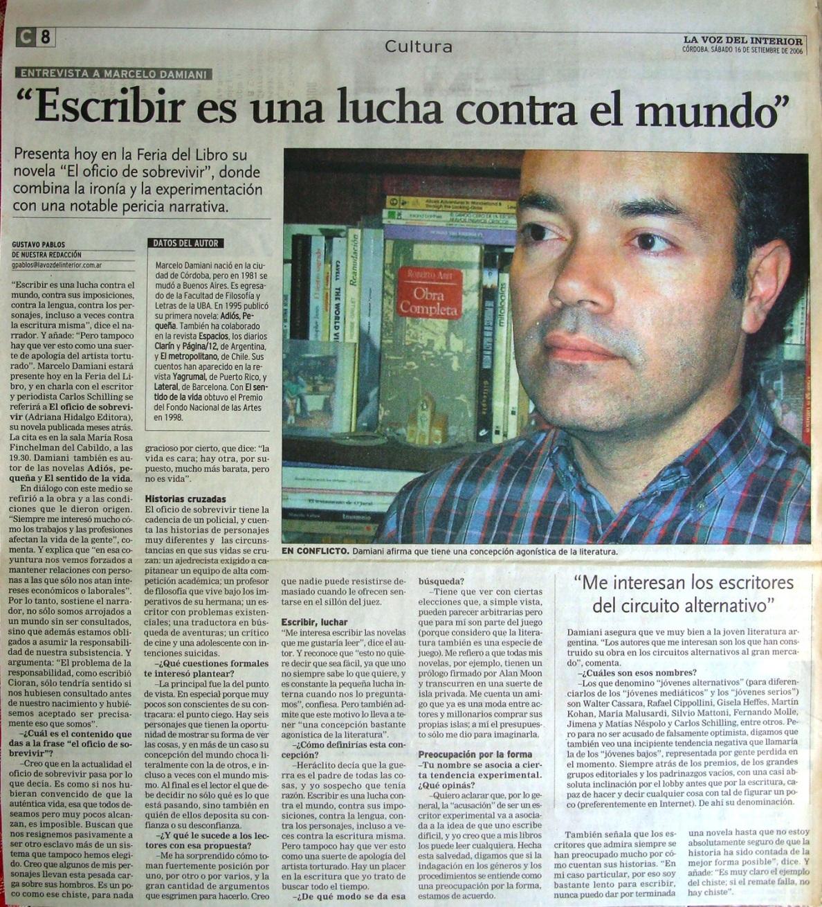 El oficio de sobrevivir por marcelo damiani entrevista en la voz del interior foto - La voz del interior ...