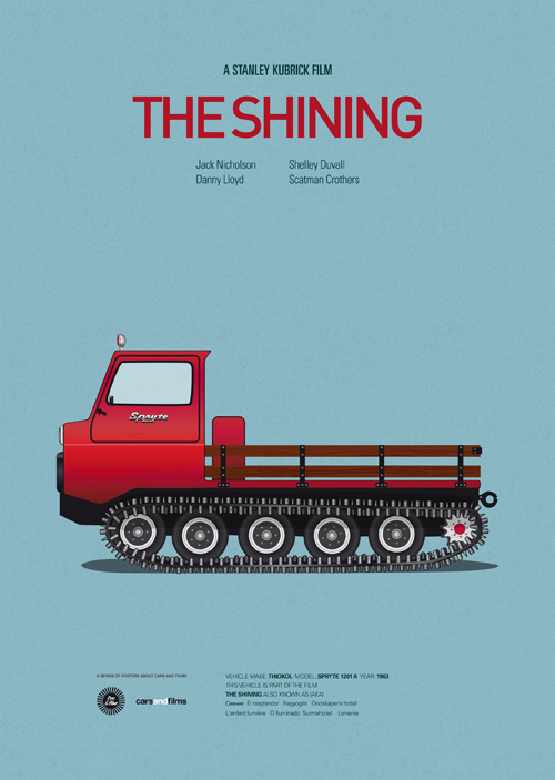 Carros famosos do cinema em posters minimalistas - Jesús Prudencio - The Shining