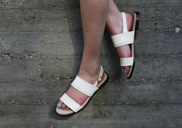 white zign sandals