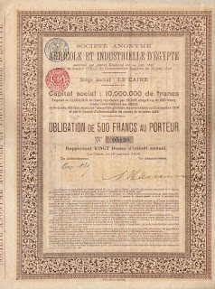 image of a bond issued by the Agricultural and Industrial Company of Egypt
