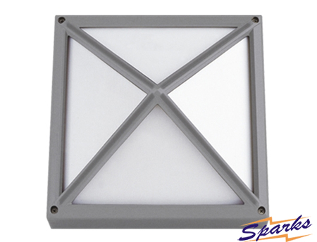 Square Bulkhead with raised impact guard, the TPC2151 IP65 lamp silver