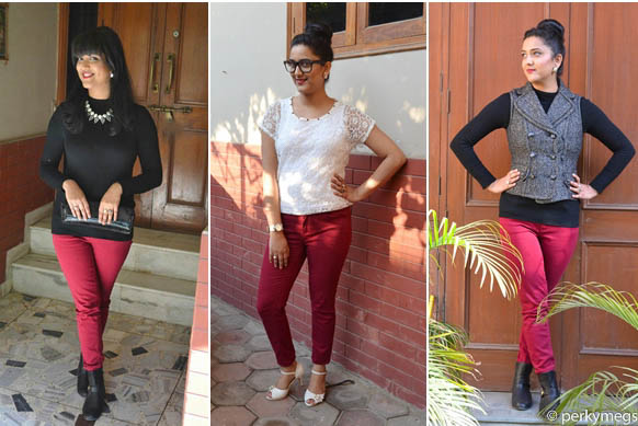 3 chic and stlylish looks with Maroon/Burgundy Jeans india