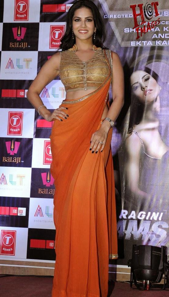 Hot Sunny Leone in orange saree